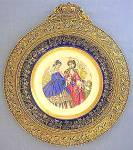 French Le Follet fashion porcelain plate brass frame