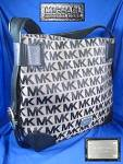 MICHAEL KORS Black Leather Fabric Hobo Bag