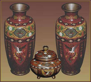 Set of Golden Age cloisonn� vases and censer (Image1)