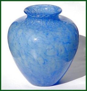 """Steuben: Large blue """"Cluthra"""" vase (Image1)"""
