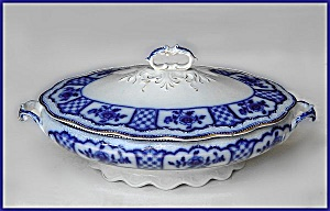 Flow Blue: MELBOURNE covered vegetable tureen (Image1)
