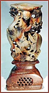 Antique carved soapstone candlestick (Image1)