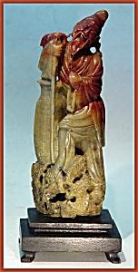 """Carved antique soapstone: """"God of  Longevity"""" (Image1)"""