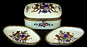 Antique French hand-painted box & trays (Image1)