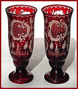 Bohemian ruby intaglio cut vases (Image1)