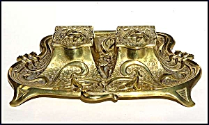 Antique Brass Inkwell Set