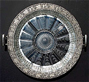 Heisey etched glass divided  serving platter in silver tray (Image1)