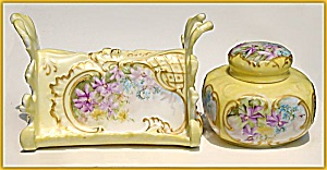 Antique porcelain letter holder and inkwell set (Image1)