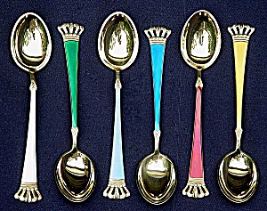 Sterling silver and enamel gilt demitasse spoon set (ELA) (Image1)