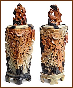 Pair Of Antique Carved Soapstone Vases With Lids