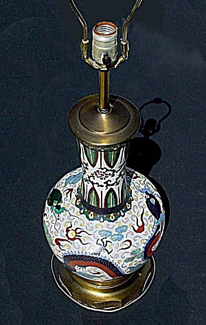 Large cloisonne lamp with reticulated metal base (Image1)