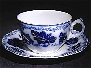 Flow Blue: NORMANDY cup and saucer set (Image1)