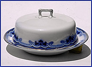 Flow Blue: THE OLYMPIC (IDRIS) covered butter dish (Image1)