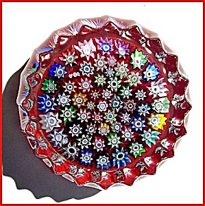 Peter McDougall: Close packed millefiori paperweight (red) (Image1)