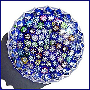 Peter McDougall: Close packed millefiori paperweight (blue) (Image1)