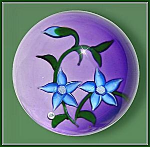 """J"" Glass: Pair of  blue clematis flowers paperweight (Image1)"