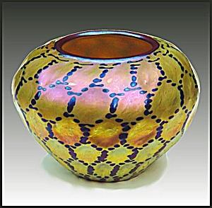 """Lundberg Studios """"Red Indian Basket"""" vase (Image1)"""