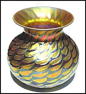 "Lundberg Studios ""Red Indian Basket"" vase (Image1)"