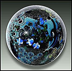 "Josh Simpson 1990: ""Inhabited planet"" paperweight (Image1)"