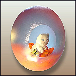 Joe St. Clair cat with butterfly sulphide paperweight (Image1)