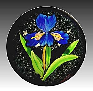 "Mayauel Ward 2013: Blue ""Flora Luna"" iris & moon paperweight (Image1)"