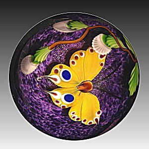 Mayauel Ward 2013: Yellow butterfly and buds paperweight (Image1)