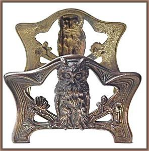 """Vintage art nouveau """"owl"""" sliding book rack (Image1)"""
