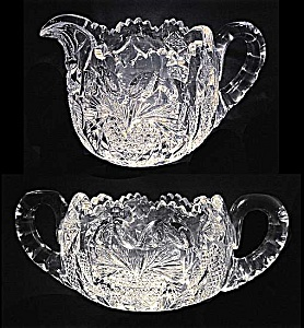 ABP Cut glass sugar and creamer (signed Clark) (Image1)