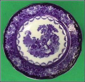 Flow Blue: WATTEAU plate (Image1)