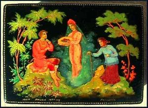 Russian lacquer box: Village of Palekh (Image1)