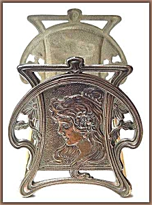"Vintage art nouveau ""lady"" sliding book rack (Image1)"