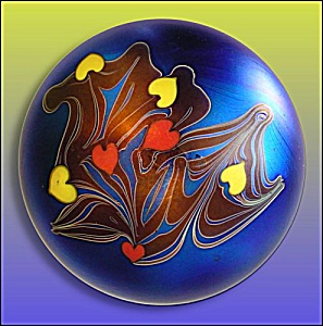 Early Lundberg 1973: Large multi-colored heart paperweight (Image1)