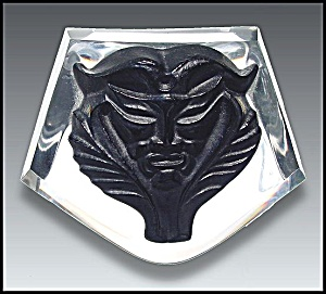 Lalique paperweight with stylized black mask (Image1)