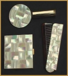 Click here to enlarge image and see more about item 502: Mother of Pearl Compact -Lipstick- Comb set