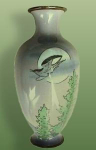 Click here to enlarge image and see more about item B032: Silver wire Cloisonné on porcelain vase