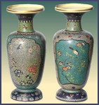 Click to view larger image of Pair of 19th C. Totai Cloisonn� vases (Image1)