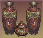 Click here to enlarge image and see more about item B148-149: Set of Golden Age cloisonné vases and censer