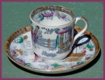 Click here to enlarge image and see more about item C060: Early Staffordshire polychrome demitasse cup and saucer