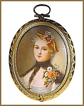 Click here to enlarge image and see more about item D002: Painting on ivory of a lady