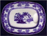 Click here to enlarge image and see more about item D066: Flow Blue: CHUSAN well&tree platter (Wedgwood)