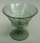 Click here to enlarge image and see more about item D134: Steuben Spanish Green reeded compote