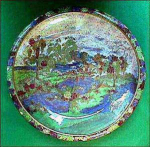 Click here to enlarge image and see more about item D139:  Wilton Ware luster centerpiece bowl