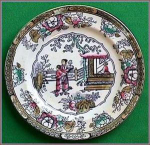 Click here to enlarge image and see more about item D174: Early Staffordshire polychrome plate