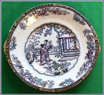 Click here to enlarge image and see more about item E008: Early Staffordshire polychrome cake plate
