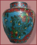 Click here to enlarge image and see more about item E058: Japanese Cloisonné on satsuma  ginger jar