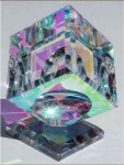 Optical cube art glass paperweight