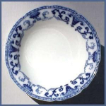 Click here to enlarge image and see more about item G023: Flow Blue: DENTON bowl (W.H. Grindley)