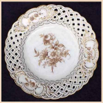 Click here to enlarge image and see more about item G029: Dreseden hand-painted reticulated plate