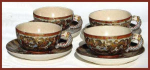 Click here to enlarge image and see more about item g085: Satsuma cups and saucers (set of 4)