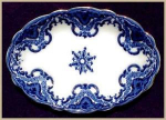 Click here to enlarge image and see more about item G119: Flow Blue: KNOX platter (Grindley)